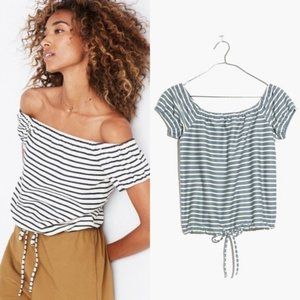 Madewell Striped Melody Off The Shoulder Top Blue